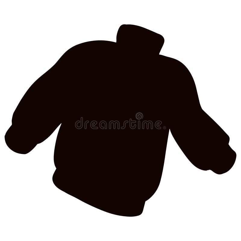 Ligação em ponte preta da camiseta da silhueta Molde de mat?ria t?xtil da roupa ocasional ilustração stock