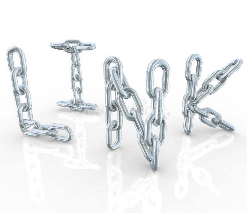 Ligações Chain do metal da ligação conectadas na palavra ilustração stock