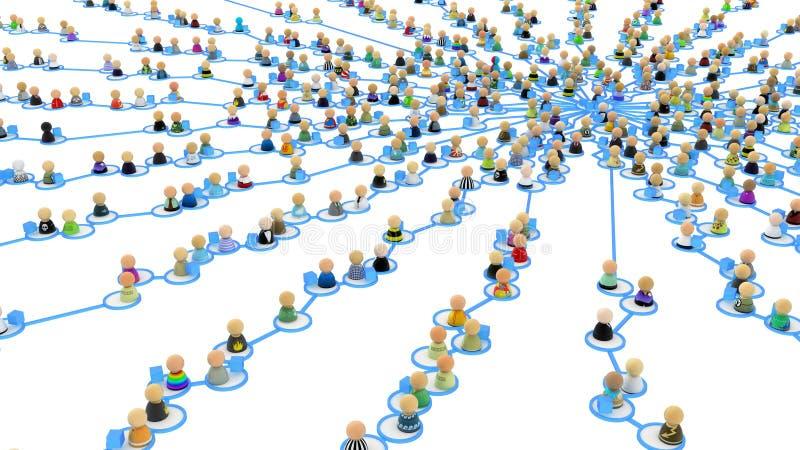 Ligações da multidão dos desenhos animados, centro do Web da fonte ilustração do vetor