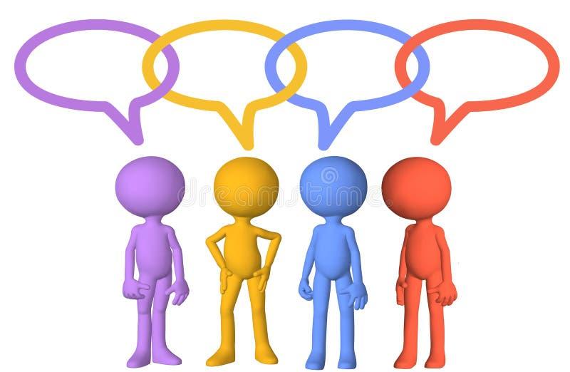 Ligações sociais da bolha do discurso da conversa dos caráteres dos media ilustração stock