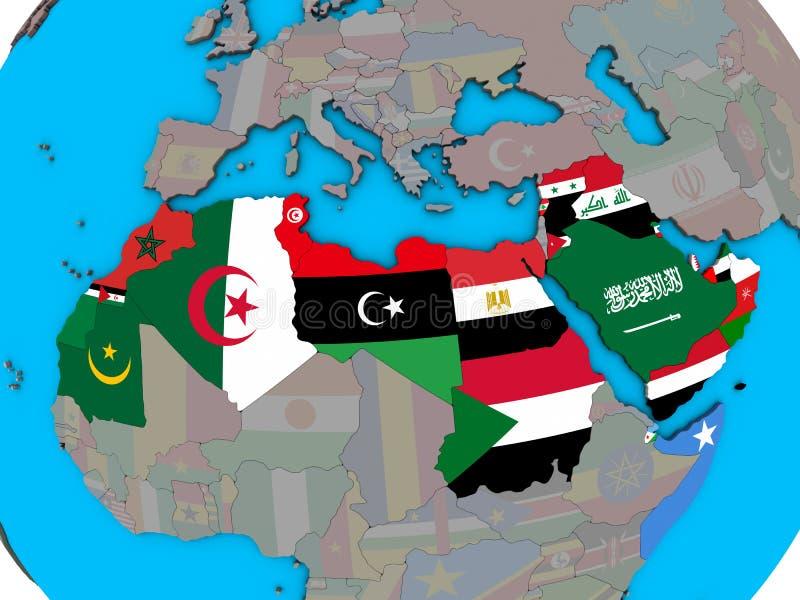Liga árabe com as bandeiras no mapa 3D ilustração royalty free