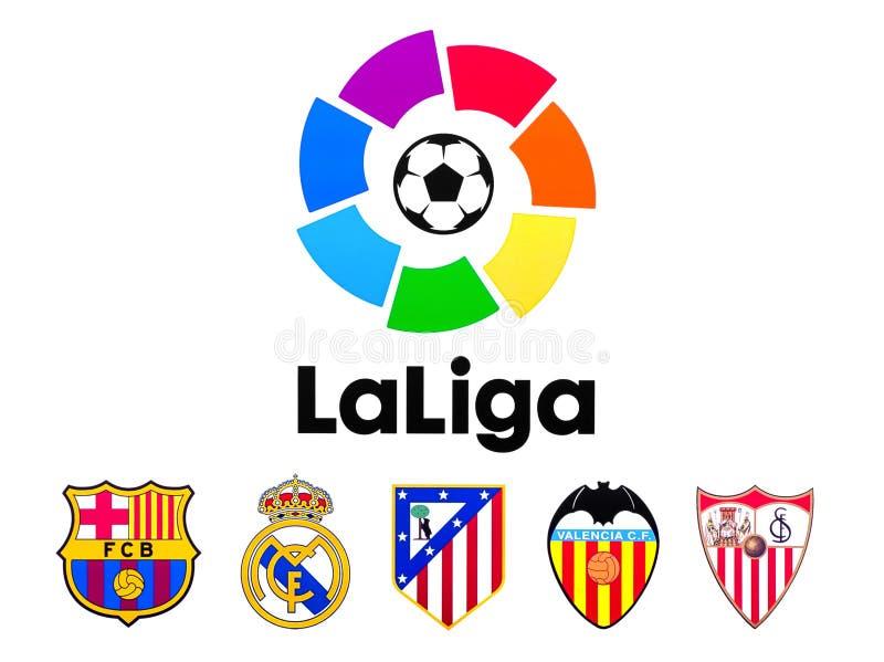 Liga de Fútbol Profesional LFP, allgemein bekannt auf englisch als La Liga, Fußball schlägt Logo mit einer Keule vektor abbildung