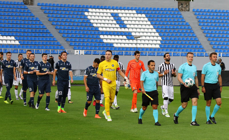 Liga del Europa de la UEFA: Olimpik Donetsk contra PAOK fotografía de archivo