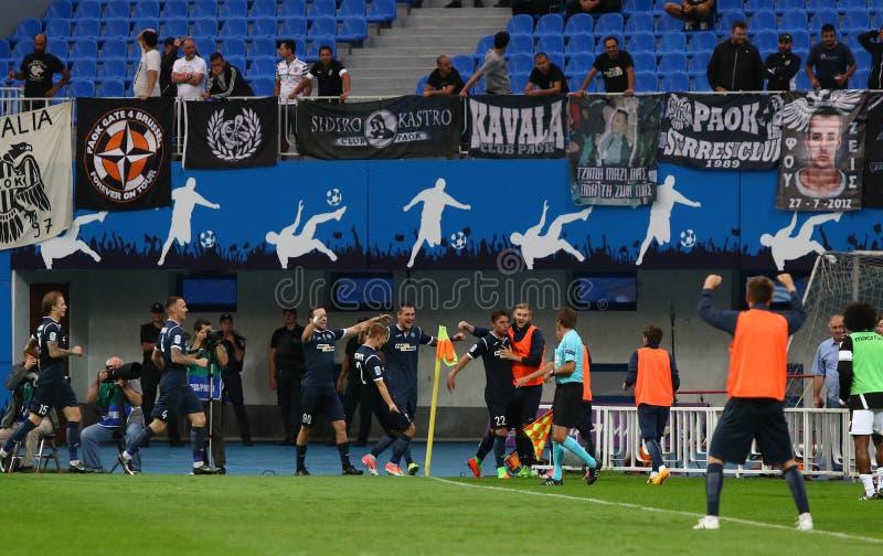 Liga del Europa de la UEFA: Olimpik Donetsk contra PAOK imagen de archivo libre de regalías