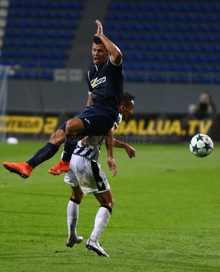 Liga del Europa de la UEFA: Olimpik Donetsk contra PAOK foto de archivo libre de regalías
