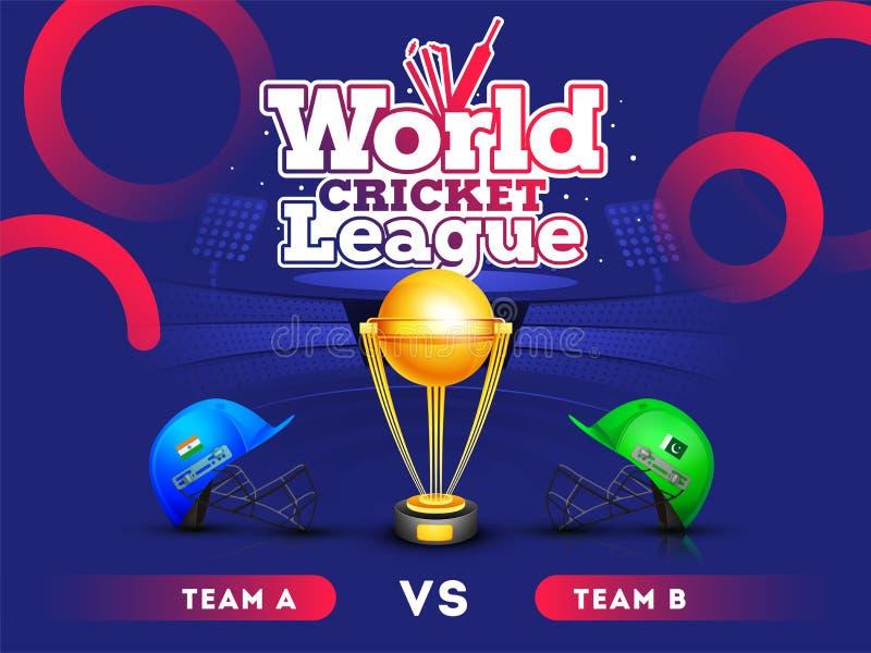 Liga del grillo del mundo, la India contra la bandera o el cartel, cascos del partido del grillo de Paquistán del traje del grill libre illustration