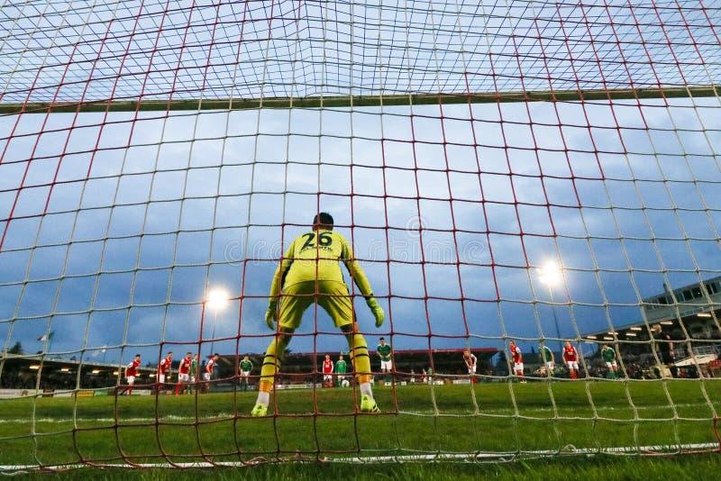 Liga von Match Irland-Premiers Division zwischen Cork City FC gegen St Patrick athletisches FC lizenzfreie stockfotos