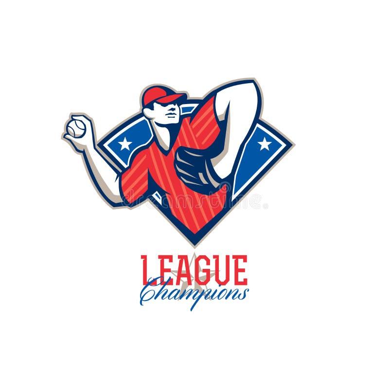 Liga Wstawia się baseballa Retro ilustracji