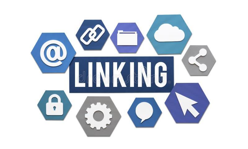 Ligando o conceito do Web site da conexão a Internet fotos de stock