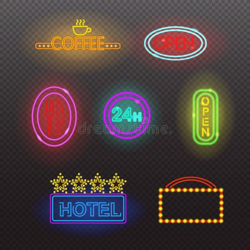 Ligeras señales de neón que brillan intensamente iluminadas en fondo transparente Ejemplo del vector de los elementos del diseño libre illustration