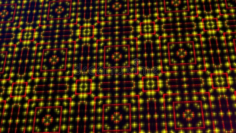 Ligero animado shinning puntos rojos y amarillos y formas de las estrellas ilustración del vector