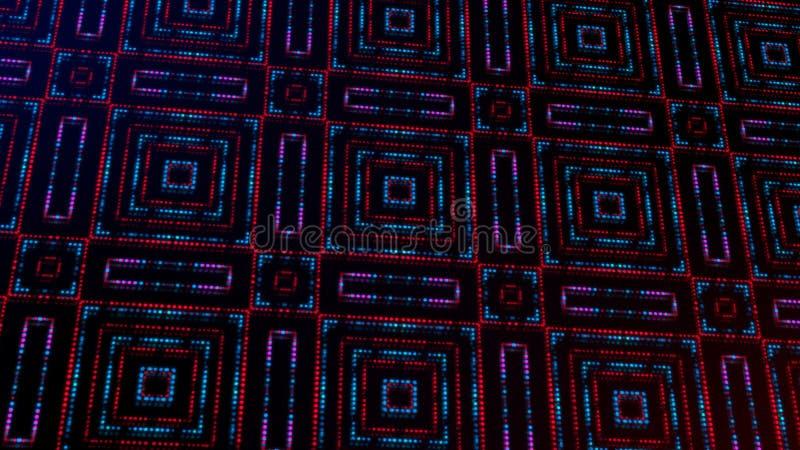 Ligero animado shinning puntos rojos y azules y formas de las estrellas stock de ilustración