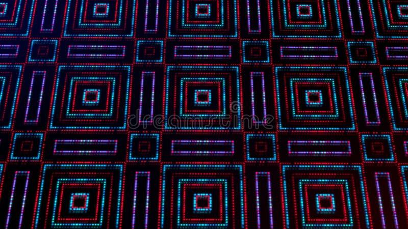 Ligero animado shinning puntos rojos y azules y formas de las estrellas ilustración del vector