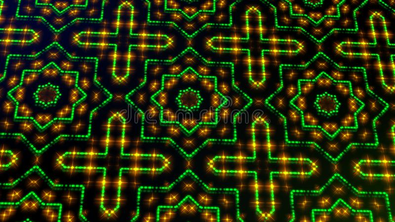 Ligero animado shinning puntos verdes y anaranjados y formas de las estrellas ilustración del vector