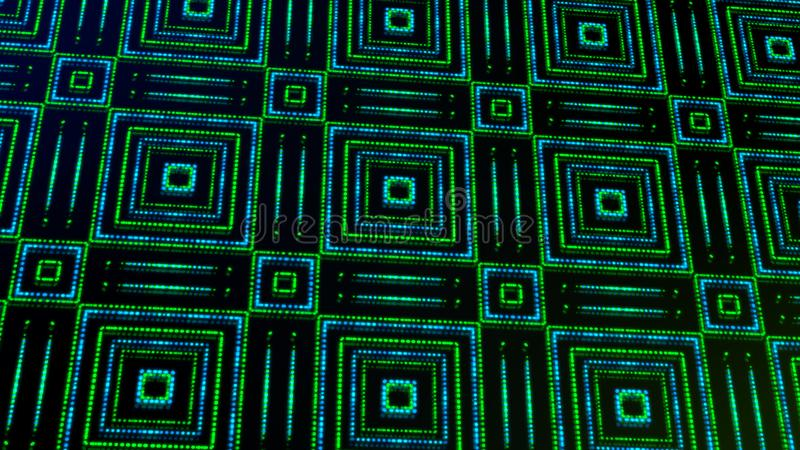 Ligero animado shinning puntos verdes y azules y formas de las estrellas stock de ilustración