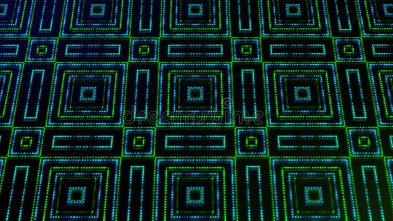 Ligero animado shinning puntos verdes y azules y formas de las estrellas ilustración del vector