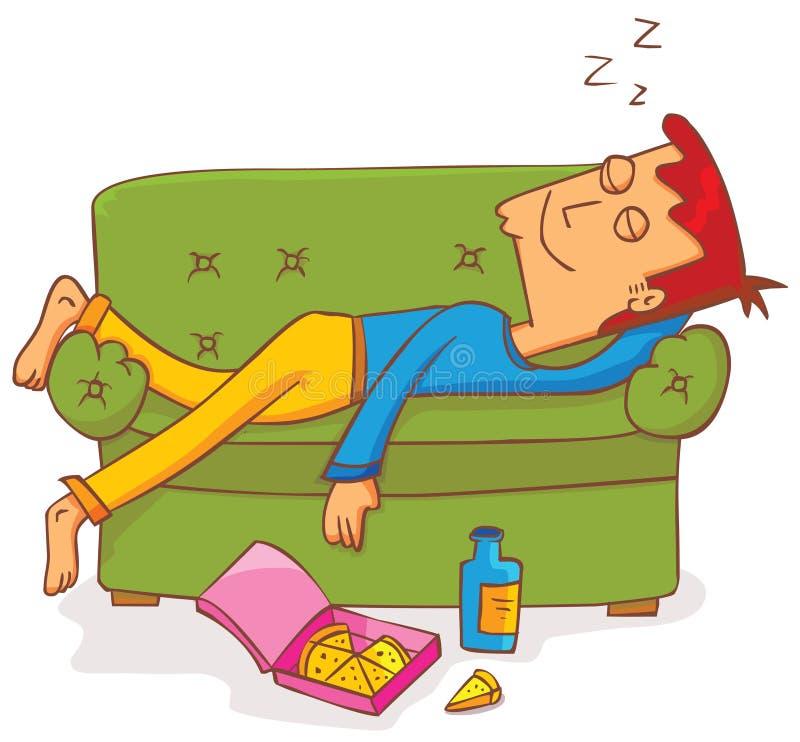 Ligga och sova på soffan vektor illustrationer