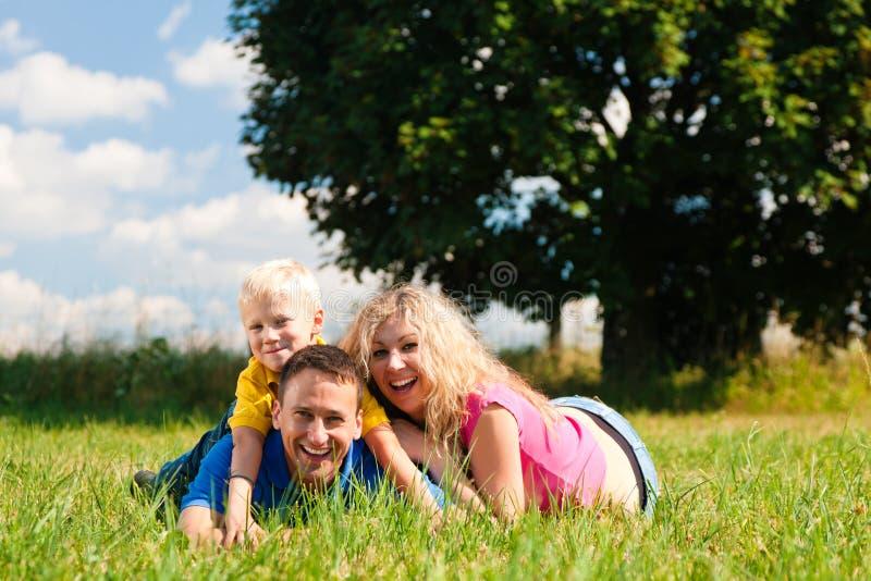 liggande äng för familj arkivfoto