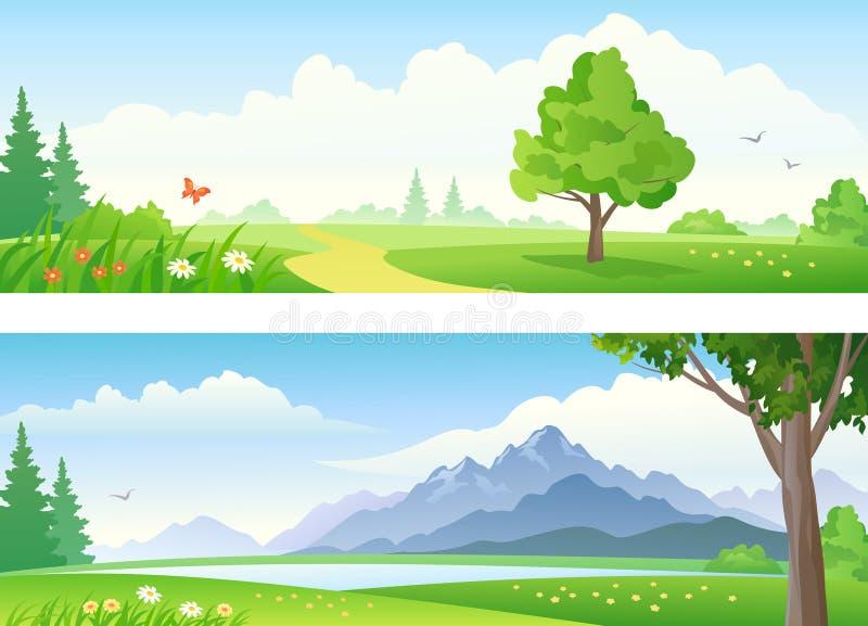 liggande för banerdesignillustration dig stock illustrationer