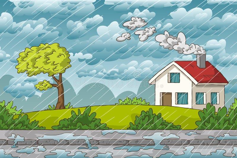 Liggande i regn vektor illustrationer