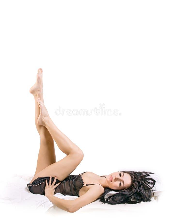 liggande kvinna för underlag royaltyfri bild