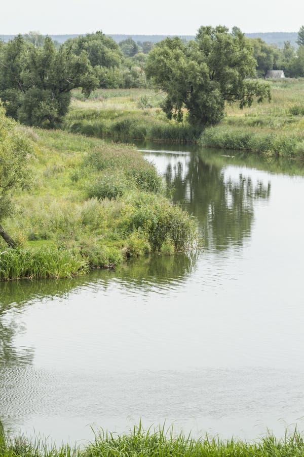 Liggande med en flod royaltyfria foton