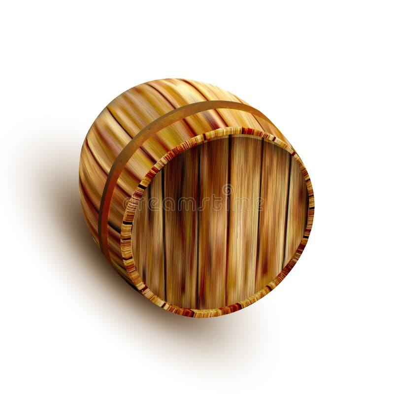 Liggande Retro brun trävektor för trumma för ölkagge royaltyfri illustrationer