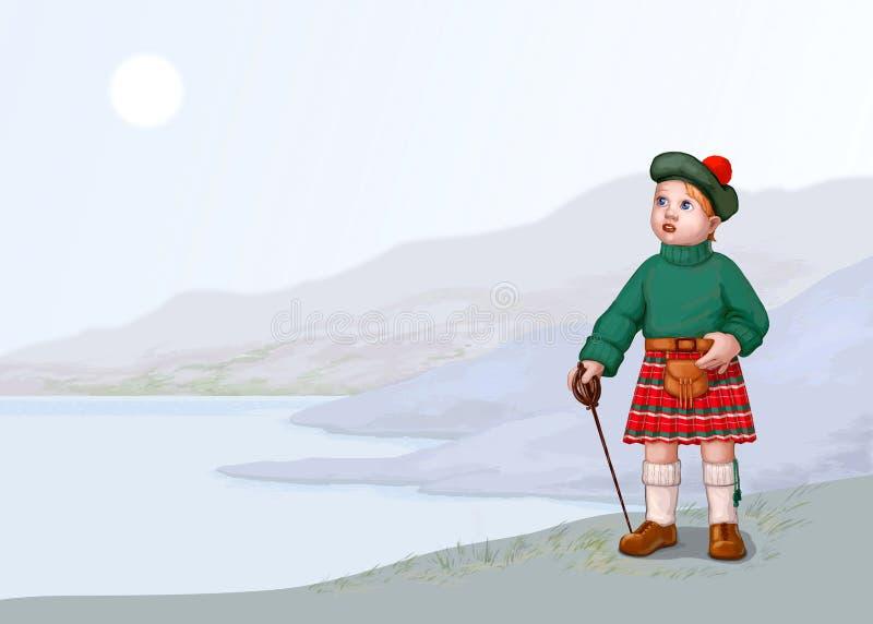 liggande scotland royaltyfri illustrationer