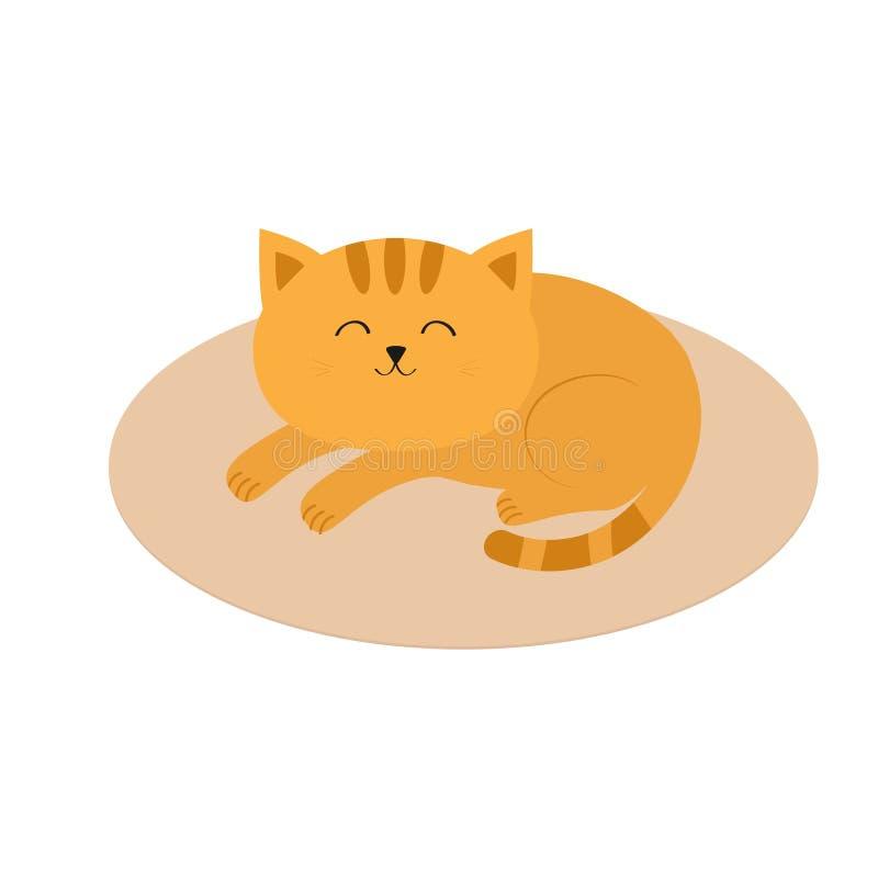 Liggande sova för gullig orange katt på ovala den matta mattfilten Mustaschmorrhår roligt tecknad filmtecken Vit bakgrund fla royaltyfri illustrationer
