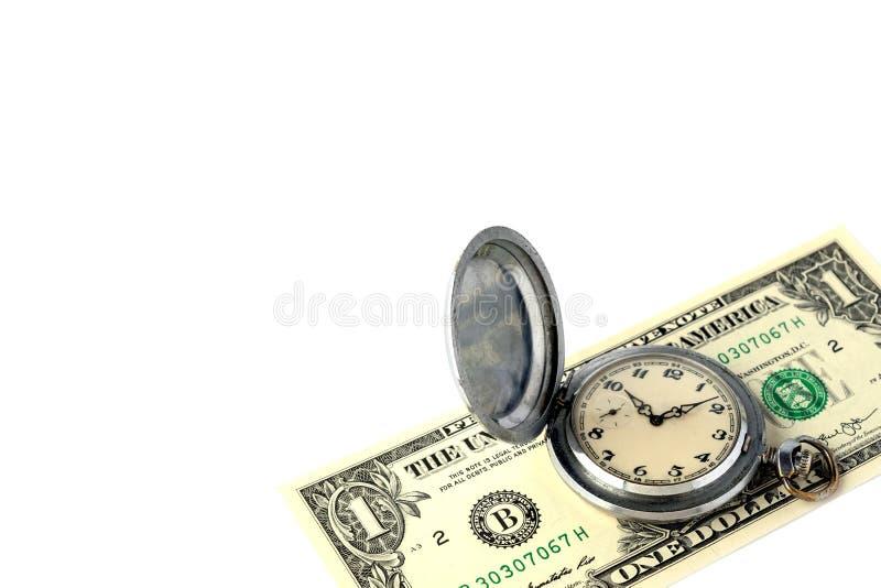 Liggen de metaal retro zakhorloges op het bankbiljet van één Amerikaanse dollar Het concept tijdbeheer, winst, doeltreffende cont royalty-vrije stock foto's