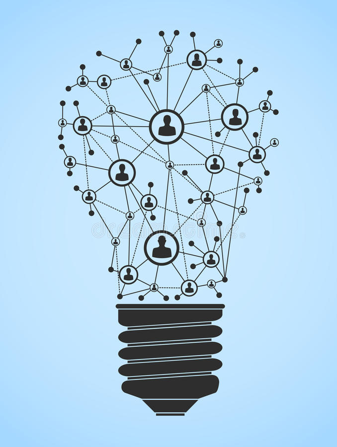 Ligh bulb network. Illustration with abstract light bulb with computer network royalty free illustration