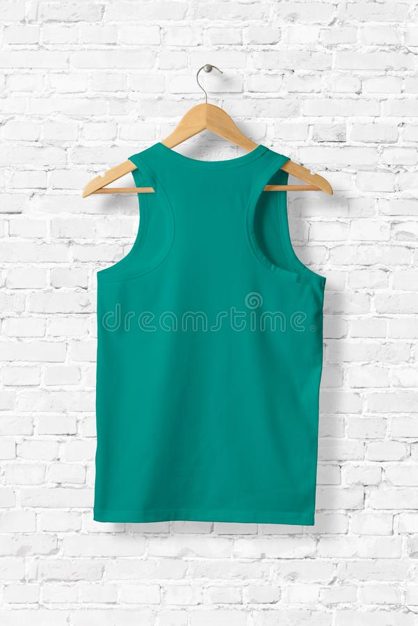 Ligh Green Tank Top Mock-up hanging on white wall. vector illustration