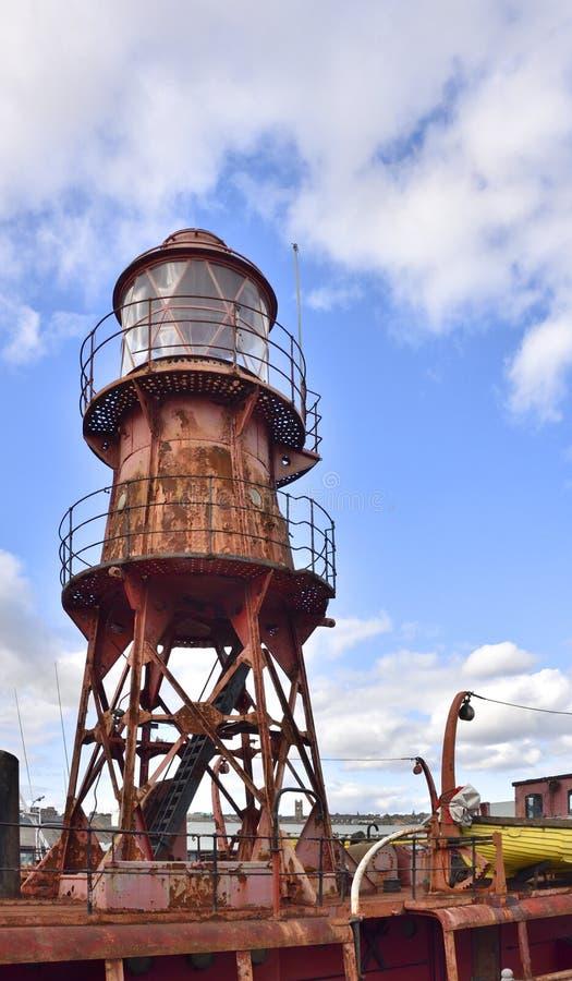 Lighship histórico amarrou na doca da cidade do UNESCO do projeto fotos de stock royalty free