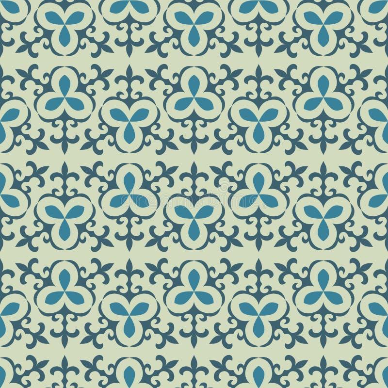 Light сoloured Kazakh, Asian, floral seamless patterns royalty free illustration