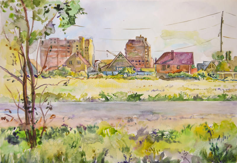 Light air landscape with unfinished buildings painted with watercolor stock photos