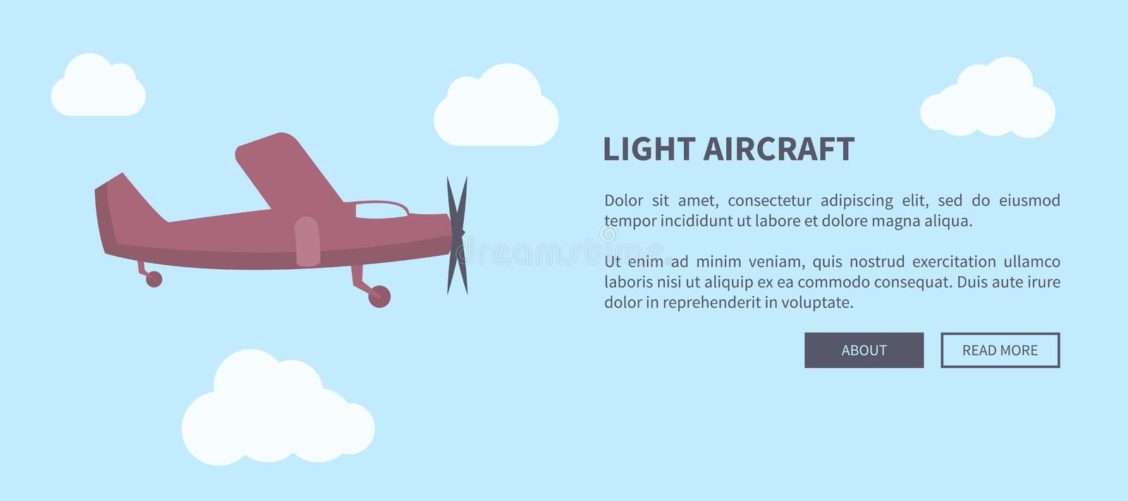 Light Aircraft Closeup of Airplane in Color Banner vector illustration