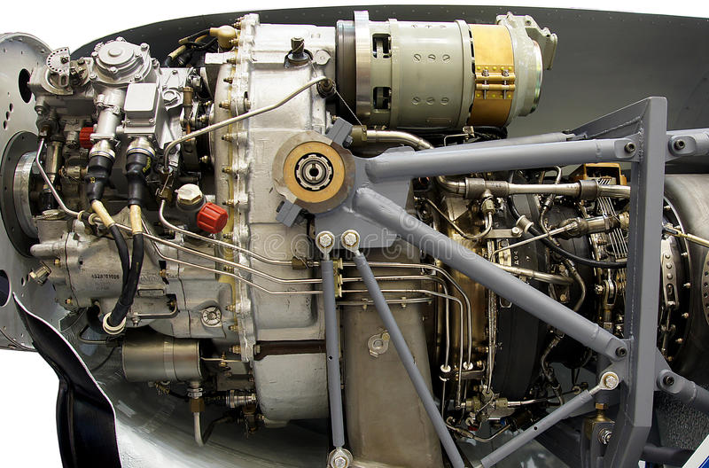 Light aircraft engine royalty free stock photos