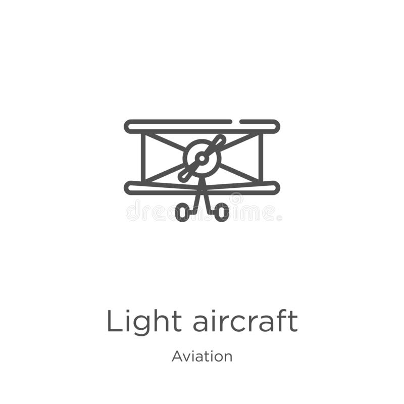 Light aircraft icon vector from aviation collection. Thin line light aircraft outline icon vector illustration. Outline, thin line. Light aircraft icon. Element vector illustration