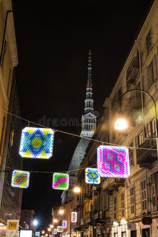 Light and Art in via Montebello in Turin, Italy royalty free stock photography