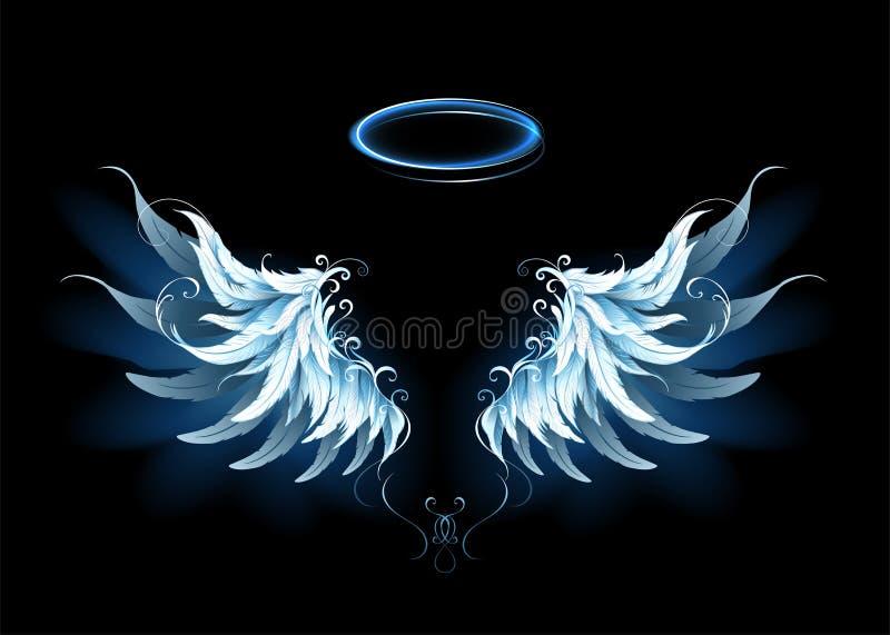 Blue angel wings. Light, artistic, blue angel wings on a black background. Angel wings vector illustration