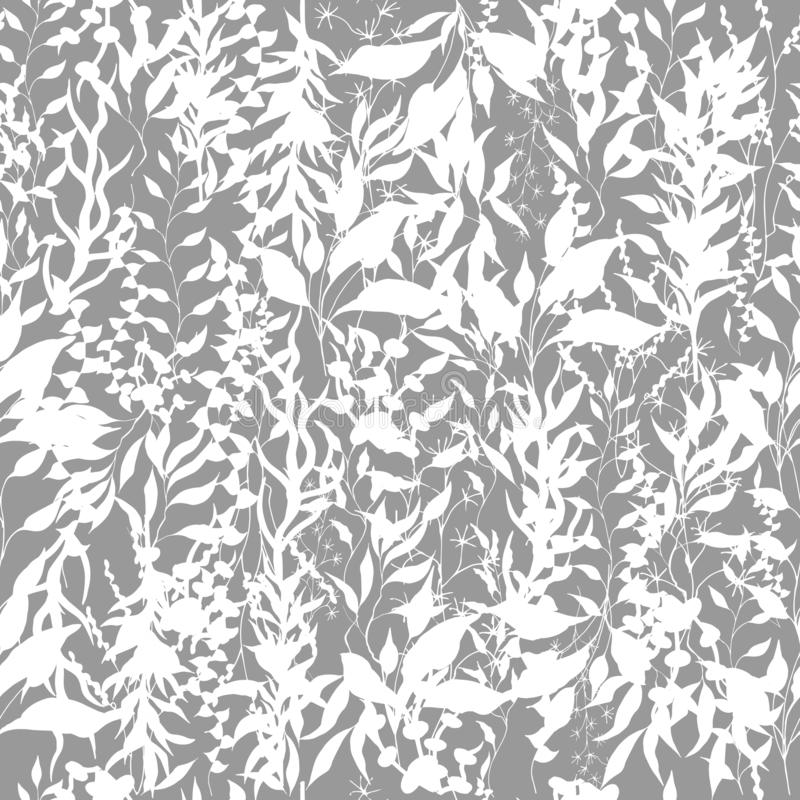 Light background of climbing plants, twigs and leaves. Climbing plants. Black and white vintage texture for fabric, tile,. Light background of climbing plants stock illustration