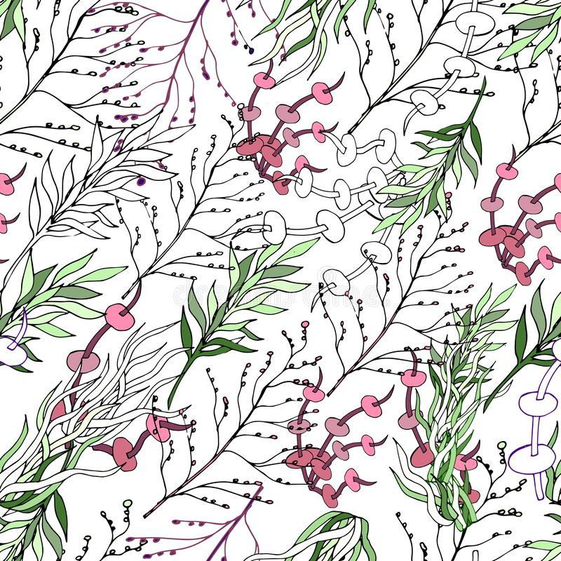 Light background of climbing plants, twigs and leaves. Climbing plants. Black and white vintage texture for fabric, tile,. Wallpaper royalty free illustration
