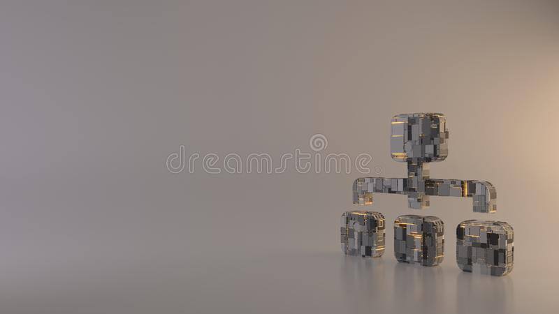 Light background 3d rendering symbol of sitemap icon. 3d rendering metal techno rectangular geometric greeble symbol of network from one main and three other vector illustration