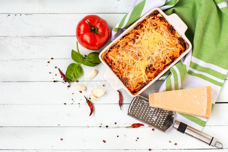 Italian cuisine is lasagna. products for lasagna stock photos