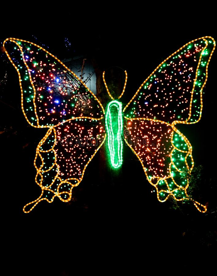 Light based butterfly. Portland, Oregon - 2018-11-21 - Light based butterfly at Oregon Zoo`s annual winter festival, ZooLights royalty free stock images