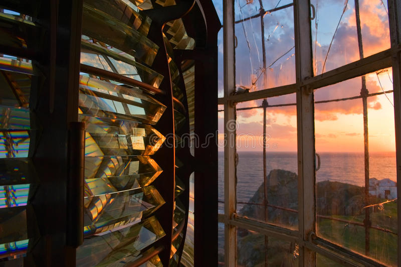 Download Light Beacon Mechanism Close-up At Sunset. Stock Photo - Image of locations, beacon: 38633682