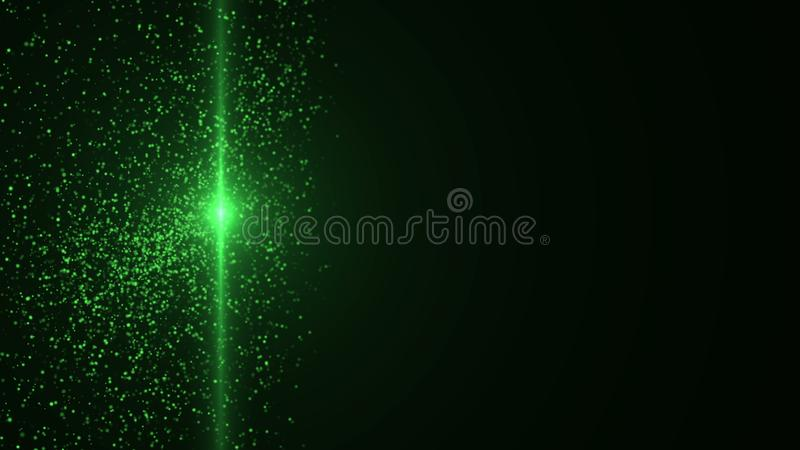 Light beam and many beautiful particles are in space, computer generated abstract background, 3D rendering royalty free illustration