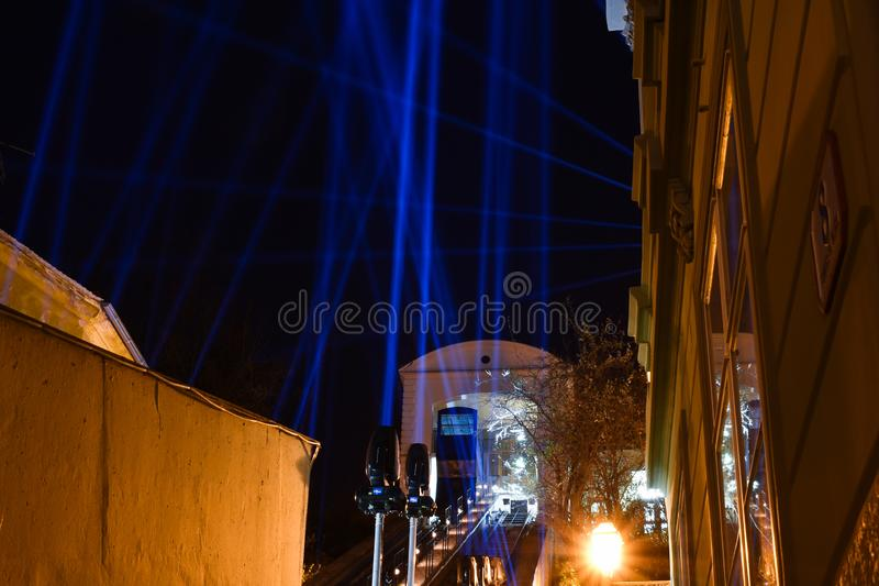 Light beams decoration of funicular railway in Zagreb, Croatia. During festival of lights royalty free stock photo