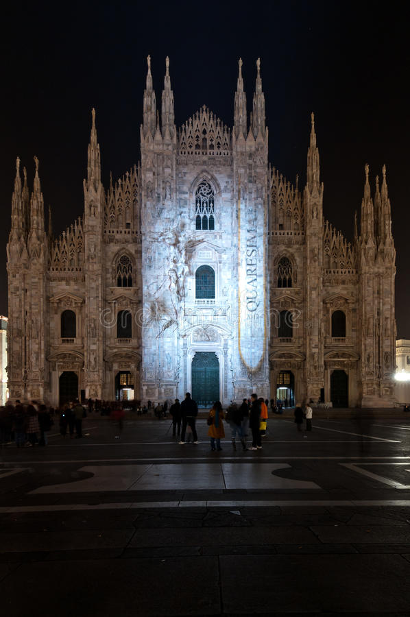 Light beams on the Duomo for the incoming Lent stock photos