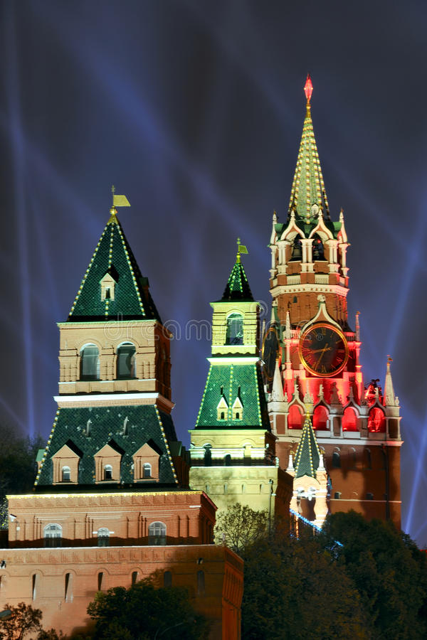 Light Beams Over Kremlin Towers. MOSCOW, RUSSIA - Light Beams over Kremlin Towers during the 1sr International Festival Circle of Light on Red Square in Moscow royalty free stock photos